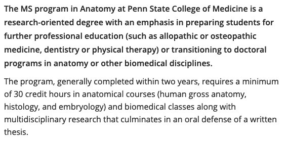 Penn State Master's in Science in Anatomy - Excerpt