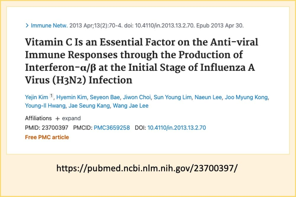 Pubmed PMID: 23700397: Vitamin C is Essential for Antiviral Response via Production of Interferon
